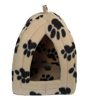 New Small Igloo Pet Bed Fleece Dog Puppy Polar Rabbit Cat Pyramid Kennel Paw