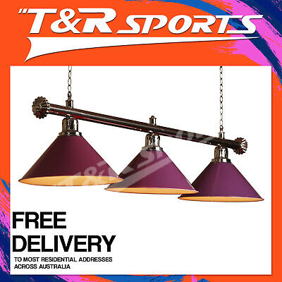 New! Premium Quality Silver Rail With Purple Heavy Duty Shades Pool Table Light