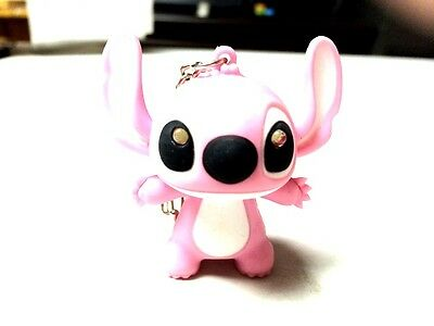 MODERN PINK LILO & STICH  RING LIGHT  MINI LED KEYCHAIN FROM CARTOON AND GAMES