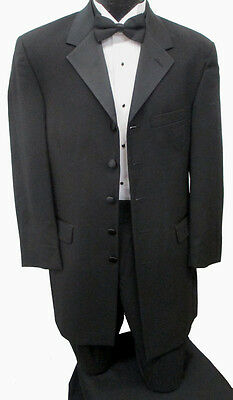38R Mens Long Black 5 Button Frock Coat Halloween Costume Steampunk Victorian