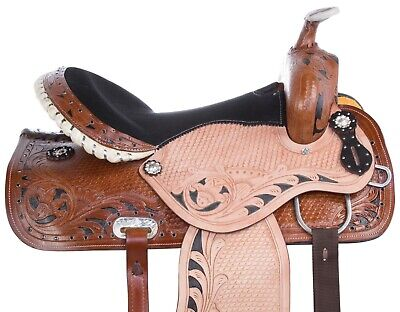 15 16 Blue Leather Western Barrel Racer Racing Trail Show Horse Saddle Tack New