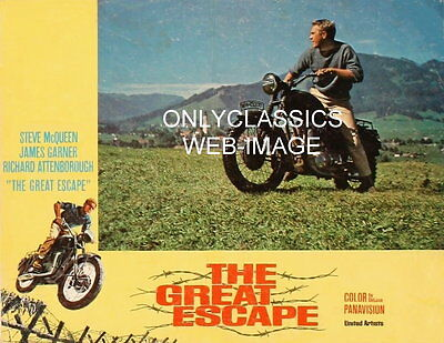 1963 COOL STEVE MCQUEEN -MOTORCYCLE THE GREAT ESCAPE MOVIE LOBBY POSTER THE JUMP