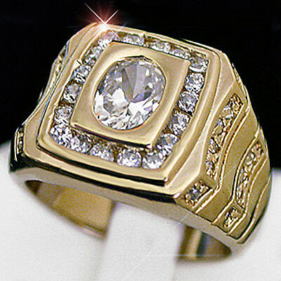 MENS 1.97ct Simulated DIAMOND 14k GOLD Layered Ring + LIFETIME GUARANTEE | BLING