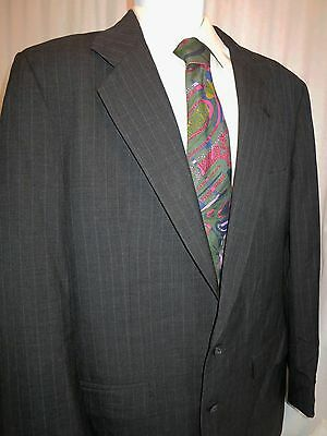 Tom James Investment Collections Striped 2 button Long Blazer Wool Gray 44