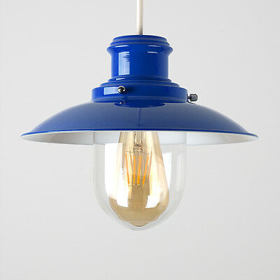 Contemporary Blue Metal Fishermans Ceiling Light Pendant Shade Lampshade Home