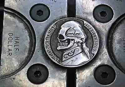 Coalburn classic Hobo Nickel engraved Love OHNS   Jefferson skull with scroll