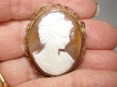 Vintage 1930's Art Deco Carved Shell Cameo With Gold Wash Filigree Frame!