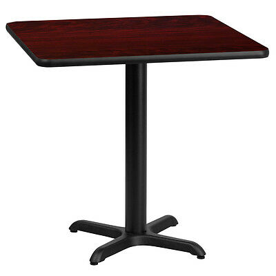 24'' Square Mahogany Laminate Table Top With 22'' X 22'' Table Height Base