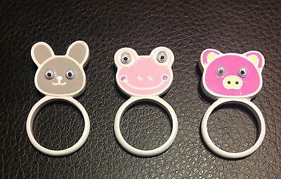 3 Pc Animal Metal Ring Set Pig Frog Bunny Size 6 Pink Green Yellow New Cute