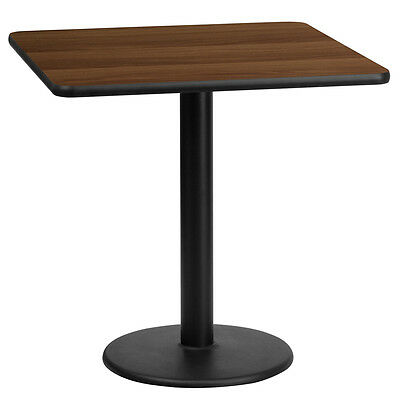 24'' Square Walnut Laminate Table Top With 18'' Round Table Height Base