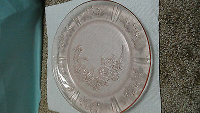 Deperssion glass pink federal Sharon/cabbage rose 9'' dinner plate 1935-39