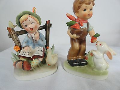 Napco figurines boy with goose and one with rabbits   Japan
