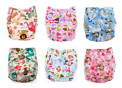Newborn Baby Alva Cloth Diapers Covers Reusable Washable Animal One Size Nappy