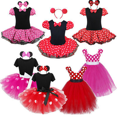Girls Kids Minnie Ballet Dance Xmas Fancy Dress Up Party Costume Outfits 12M-10
