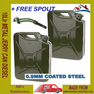 2 X New 10L Jerry Metal Military Can For Petrol Diesel Oil Fuel Water Container