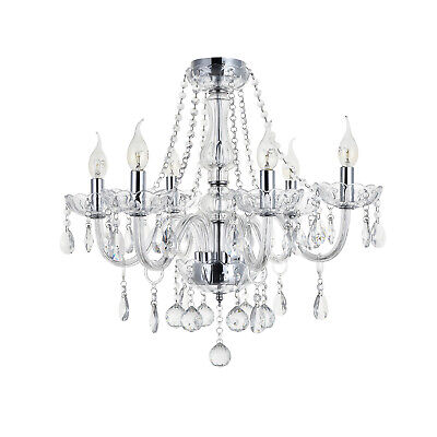 Marie Therese 6-arm Clear Crystal&Glass Ceiling Light Chandelier