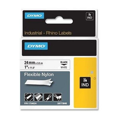 DYMO 24mm Flexible Nylon Tape [Negro, Color blanco] NUEVO