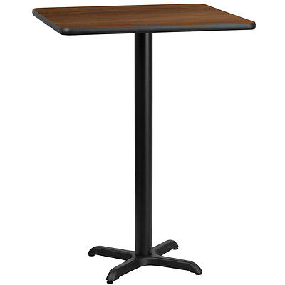24'' Square Walnut Laminate Table Top With 22'' X 22'' Bar Height Base