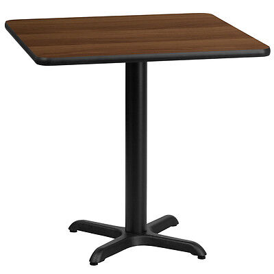 30'' Square Walnut Laminate Table Top With 22'' X 22'' Bar Height Base