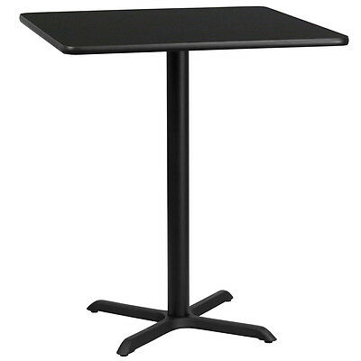 36'' Square Black Laminate Table Top With 30'' X 30'' Bar Height Base