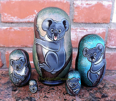 Koalas on the Small Set of Five Russian Nesting Dolls