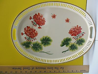 Vintage Pilgrim Art Tole Hand Decorated Oval Metal Tray #155