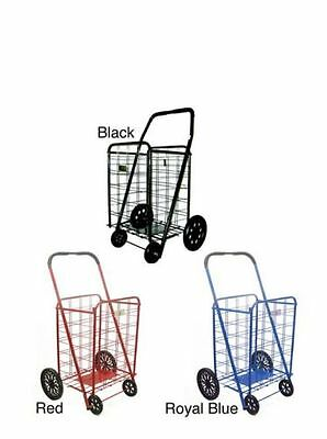 Extra Large Heavy Duty Shopping Cart Blue Red Black Laundry Fold Flat Steel  NEW