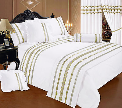King Size White / Gold Ribbon 200 Thread Count Hotel Quality Duvet Cover Set