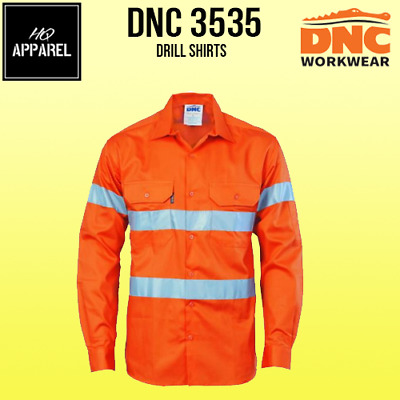 HiVis D/N Drill Cotton Shirt Safety Workwear R/Tape Long Sleeve 3535 dnc