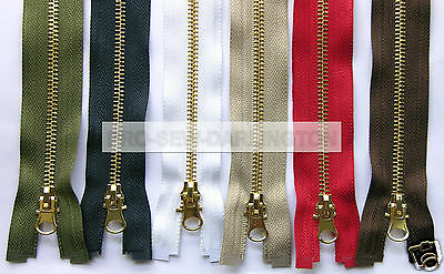 Bright Brass Metal Teeth Open Ended Zip ( Choice Of Length & Colour )