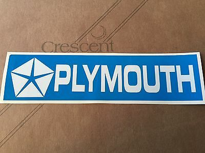 "2""X 8"" PLYMOUTH Sticker (Petty Blue & White VINYL) Vintage Looking"