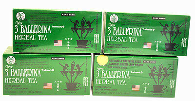 4 BOXES OF 3 Ballerina Herbal Slimming Tea Dieters' Drink 72 Tea Bags in Total
