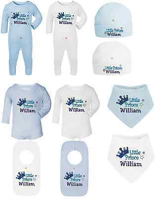 Personalised Baby Boy Sleepsuit/bib/hat Gift Set- Prince Design - Embroidered