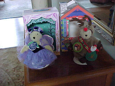 LOT MUFFY VANDERBEAR ~ PLUM FAIRY & RED-NOSED REINBEAR (BOXED) HOLIDAY