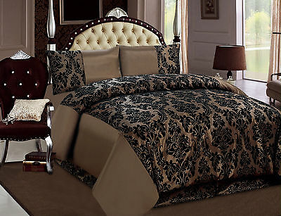 4 Pieces Flocking (BROWN) Bed Set, Duvet Cover,1 Valance Sheet & 2 Pillow Cases