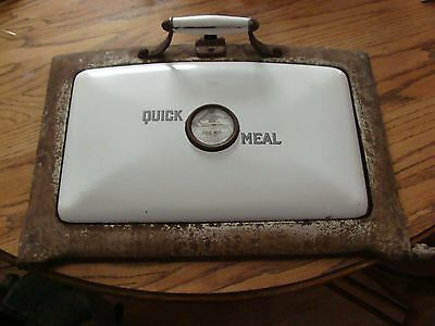 Antique Cast Metal & Porcelain, Cook Stove Oven Door w/Thermometer, Quick Meal