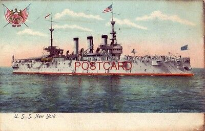 pre-1907 U. S. S. NEW YORK Armored Cruiser (ACR-2) Cpyrt 1898 by William H Ray