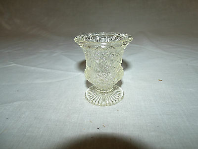 Clear Daisy & Button Glass VINTAGE Footed Toothpick Holder