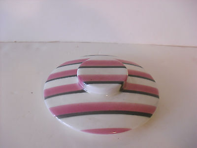 W.S. George Gray & Pink Stripe Large Lid  Mid-Century Retro