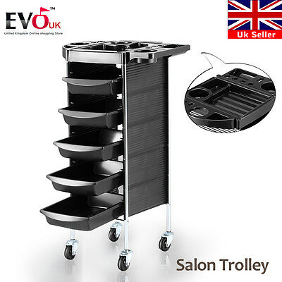 5 Drawer 6 Tiers Hairdresser Hair Salon Spa Trolley Beauty Coloring Storage Cart