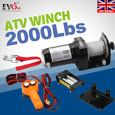 Electric Recovery ATV Winch w/ Steel Wire Boat Truck Winch 12V 2000LBS/907KG