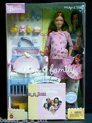 Midge & Baby in Rare Pink Outfit Happy Family Barbie Doll Mom and Baby Pregnant