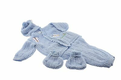 Blue Crochet New born Baby set butterflies design pants sweater booties hat