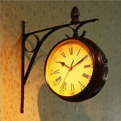 Exquisite Two-sided Stylish Iron Art Wall Clock Super Silent European style H62