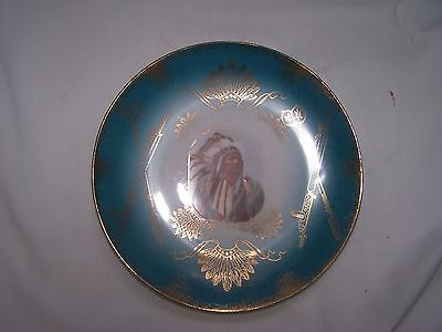 RARE ROYAL SAXE GERMANY AMERICAN INDIAN CABINET PLATE ANTIQUE