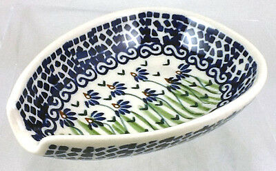 Polish Pottery Spoon Rest Condiment Bowl RC15 Addie Jo Dark Blue and Green