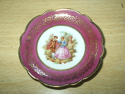 "Small LIMOGES France RED / GOLD Saucer LA REINE A3 -  3"" diam EXCELLENT Cond"