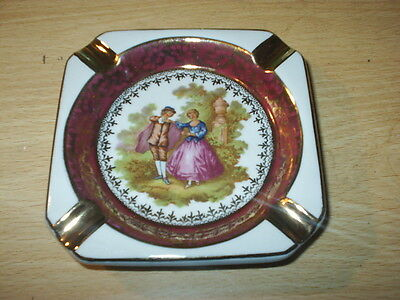 LIMOGES France WHITE / RED / GOLD Coloured SQUARE ASHTRAY - EXCELLENT Fragonard