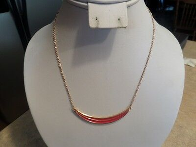 Vintage Avon Red and Gold Tone Necklace