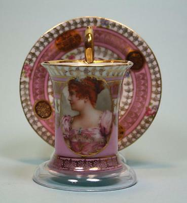 Antique French  Sevres ? Cup and Saucer with Portrait of French aristocracy # 1